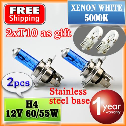 2 PCS 12V 60/55W H4 Halogen Bulb 5000K Car HeadLight (T10 as Gift) Xenon Dark Blue Glass Super White FREE SHIPPING(China (Mainland))