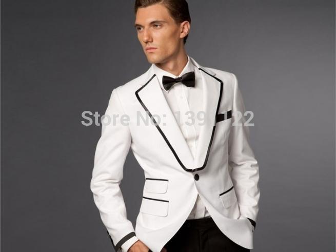 Barato de la boda esmoquin blanco y negro smokinges del for Trajes de novio blanco para boda