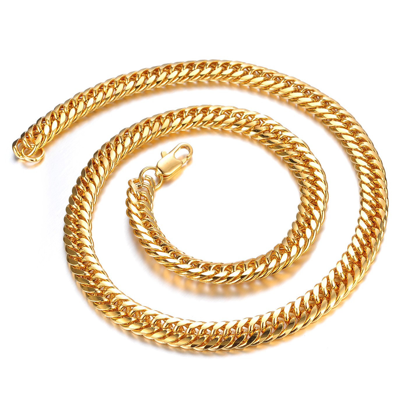 8mm Wide 18K Copper Yellow Gold Filled Necklaces Hammered Curb Cuban Chain 19inch Necklace Golden Men Jewelry Wedding Jewellery(China (Mainland))