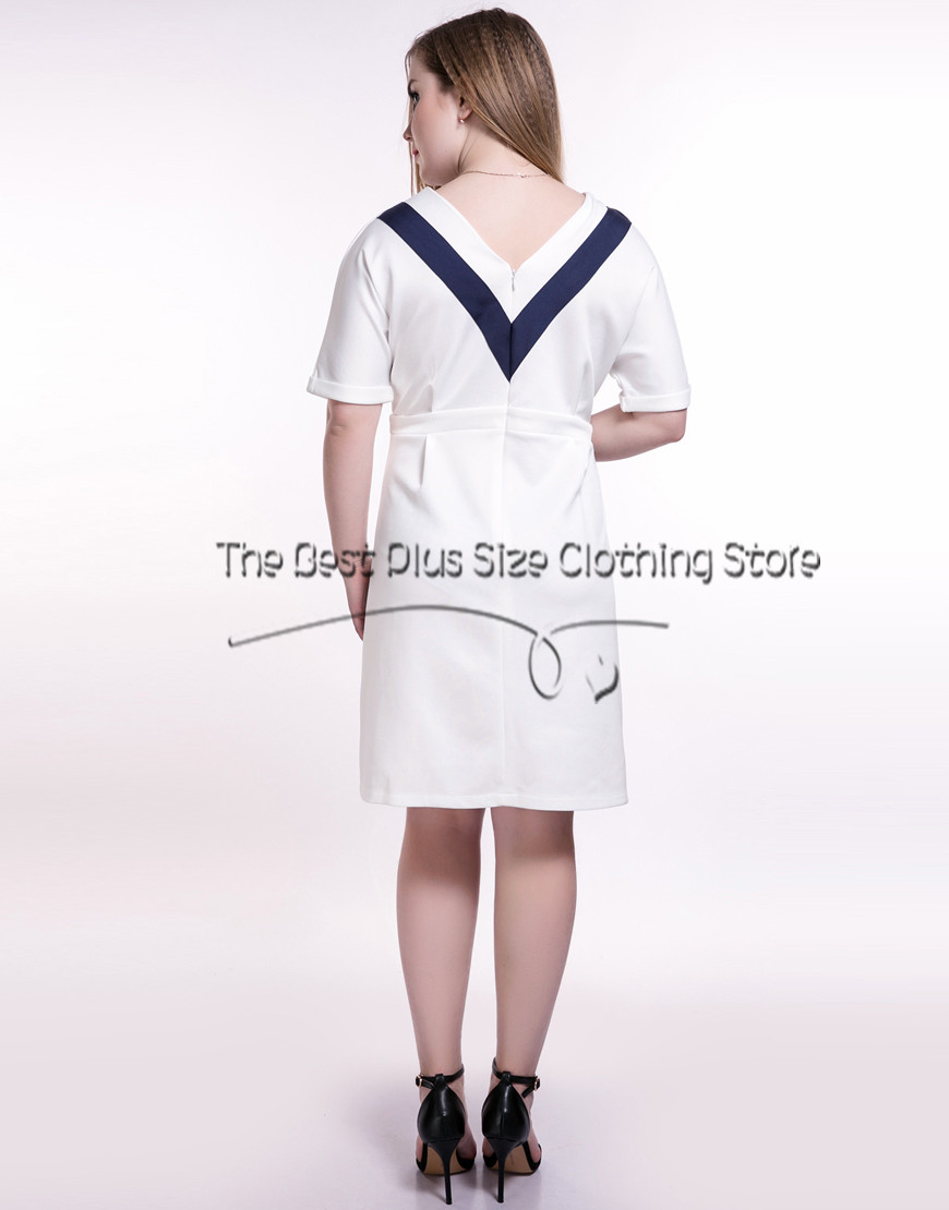 2016 womens sexy v-neck plus size midi dress contrast color patchwork spring party dress split design casual dress L-7XL dress(China (Mainland))
