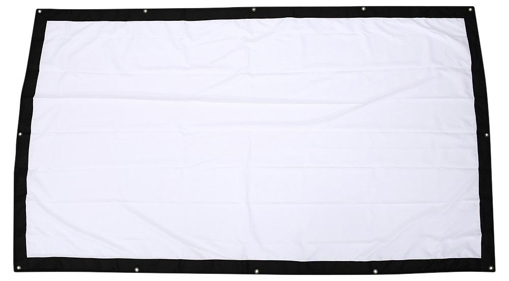 ถูก 120นิ้ว16:9 HDหน้าจอโปรเจ็กเตอร์แบบพกพาพับด้านหน้าจอโปรเจคเตอร์ผ้าที่มีตาไก่โดยไม่ต้องกรอบสำหรับUNic UC46 UC40