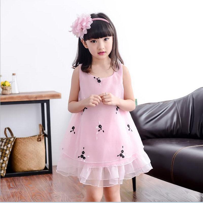Girls party wear dress kids 2016 Organza embroidery children girls elegant ceremonies birthday dresses teenagers prom gowns(China (Mainland))