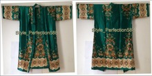 Free Shipping! Green Fashion Lady's Kimono Bath Robe Gown Yukata Bath Hand-Made Painted Kaftan Robe With Belt Flower XSZ-1(China (Mainland))