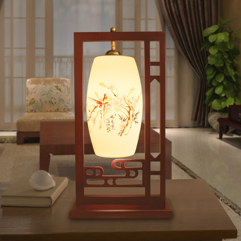 Chinese Style Cloud Window Shelves Wooden Ceramic Lampshades Desk Lamps For Living Room Bedroom Father's Day Gift(China (Mainland))