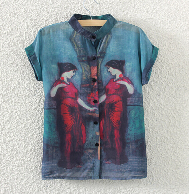 female spring loose printing maid blue comfortable chiffon casual Blouses & Shirts fengrao003(China (Mainland))