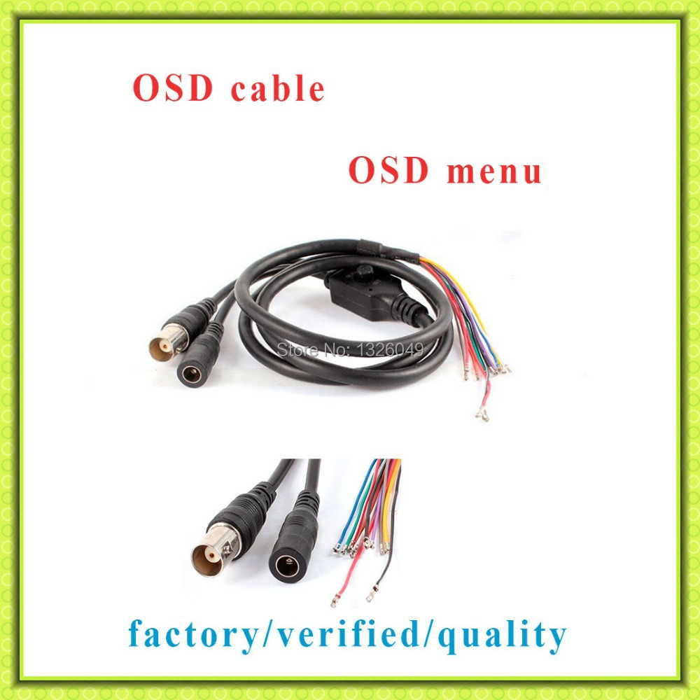 Free Shipping OSD Cable for CCD Board,CCTV video power OSD cable for cctv analog cameras, BNC and DC connectors with Terminals(China (Mainland))