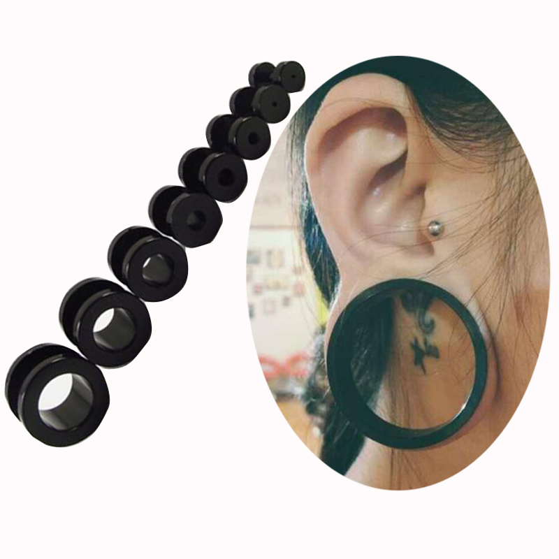 choose size 2-12mm Black UV Acrylic Ear Gauges Plugs Flesh Tunnels Double Flared Internal Thread Screw Fit - Sun Supply Co.,Ltd store