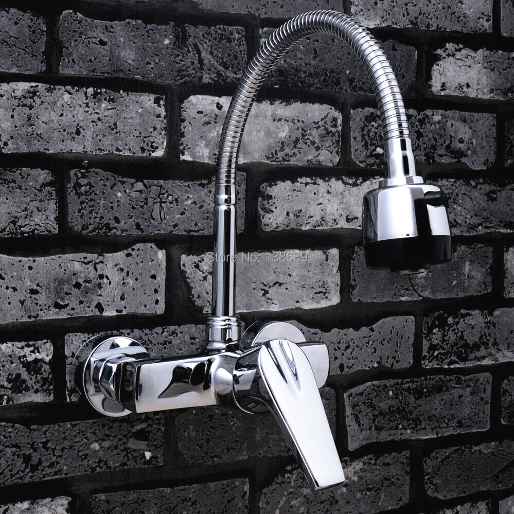 2018 Dual Holder Wall Mount Kitchen Faucet Kitchen Brass: Whloesale And Retail Wall Mounted Single Handle Double