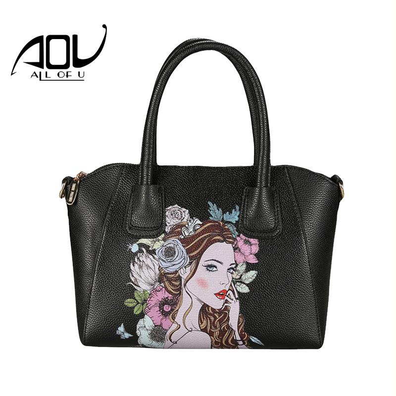 AOU 2017 New fashion womens bags chains Luxury Original PU leather famous brands design handbag Cartoon women messenger bags(China (Mainland))
