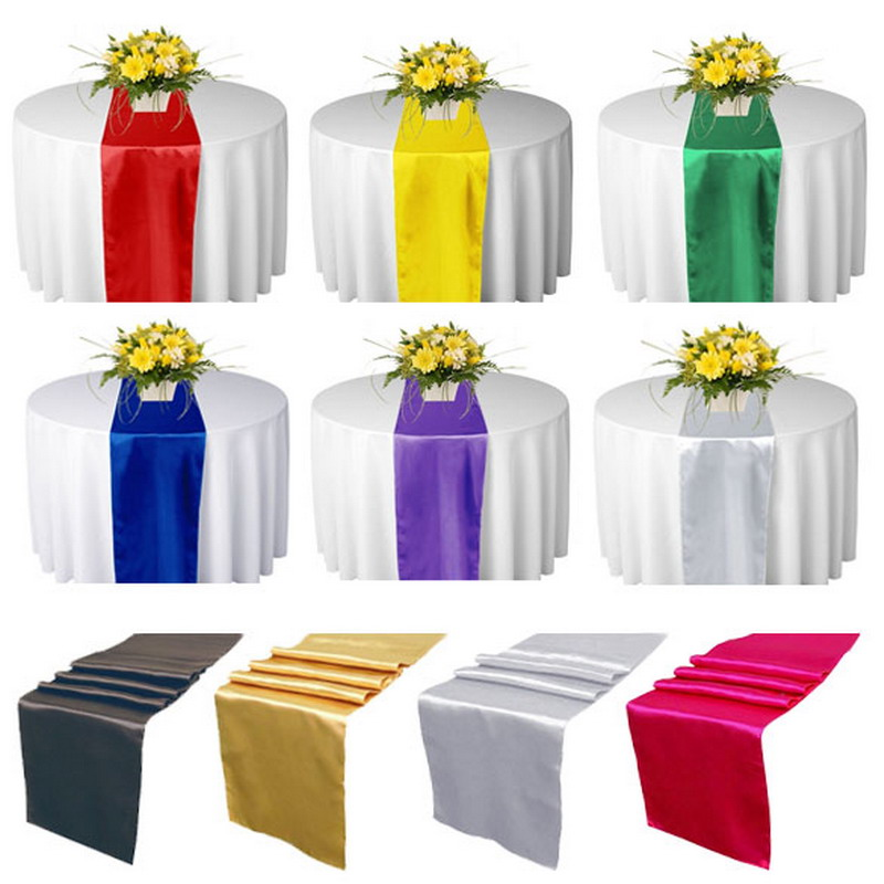 High Quality 10Pcs Satin Table Runners Wedding Party Decorations 31x275cm 10 Colors NVIE(China (Mainland))
