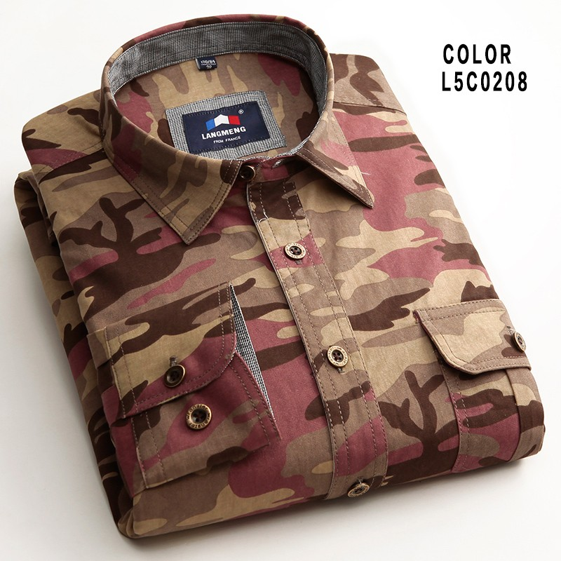 100% cotton Man Casual Camouflage shirt Men Army Tactical Combat casual Shirt Military Sport Camo Camp Mens Shirts Fashion 2015