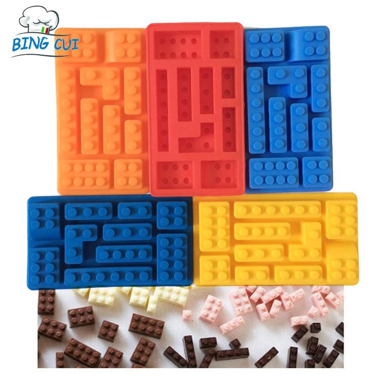 Lego Toy Brick Shape Silicone Fandont Chocolate Mold Ice Cube Mould Sweet Candy Jelly Cake Bakeware Cake Tools CT373(China (Mainland))