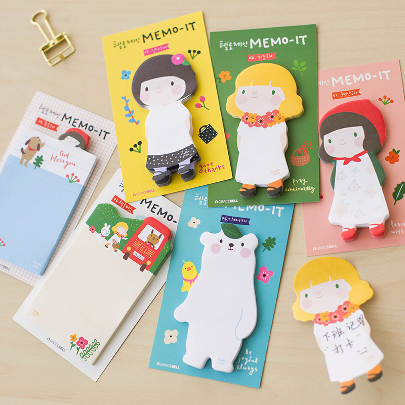 Free shipping memo pad decoration New arrival korea stationery cartoon apron girl sticky note paper sticky n times stickers(China (Mainland))