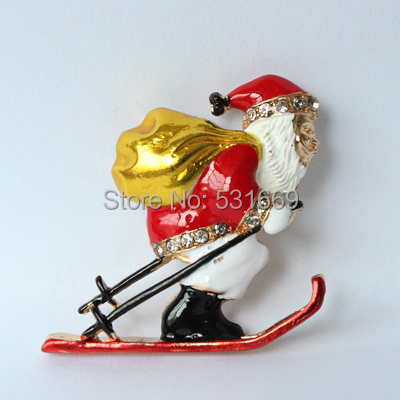 Santa Claus Silver Plated Brooch Rhinestone Brooches For Female Pins Lapel Pin Women Wedding Scarf Clip Collar Tips Hijab Pins(China (Mainland))