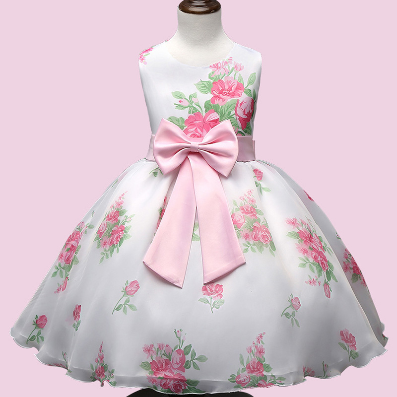Fashion Summer formal dress baby girl clothes Floral Pattern design sleeveless Kids girls princess dresses for 3-7Y babies(China (Mainland))