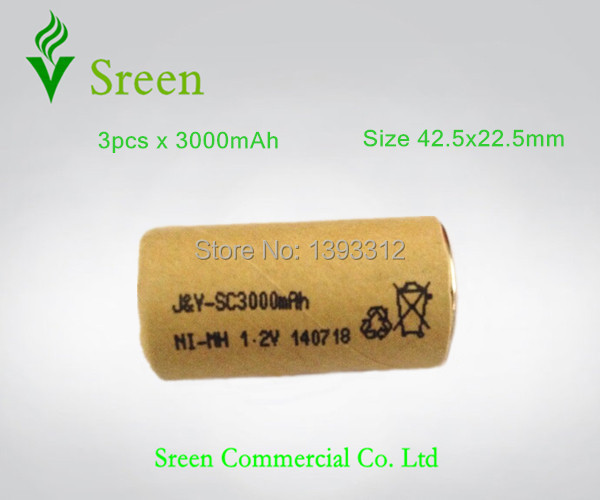 3pcs 3000mAh 1.2V SC NI-MH Rechargeable Batteries Packs Universal Power Tools Battery Cell(China (Mainland))