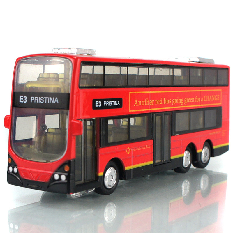 In Stock Sale 1:43 Mini Alloy Car Pull Back London Double-Decker Bus Toy Cars Model Toys For Children Can Open Door(China (Mainland))