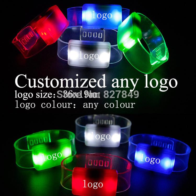 FREE SHIPPING Customize LOGO 100pcs/lot LED Wristwatch Personality Bracelet Flashing Wristband Fan Bangle Party Promotion Gift(China (Mainland))