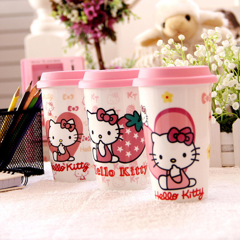 hellokitty ceramic mug coffee cup lid girls can be customized LOGO great concessions shipping(China (Mainland))