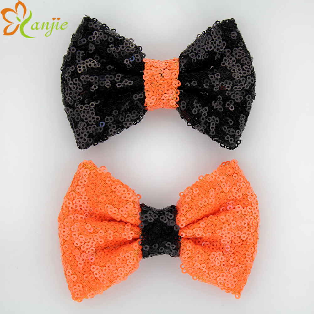 "Hot-sale High-quality Girls' Festival Halloween Sequins 4"" Bow Headband Without Clip Summer Baby DIY Handmade Hair Accessories(China (Mainland))"