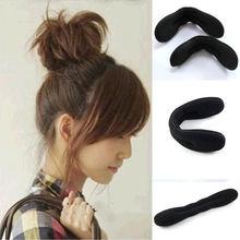 NiceWomen Foam Sponge Hair Styling Clip Donut Bun Curler Maker Ring Tool Hairdisk(China (Mainland))