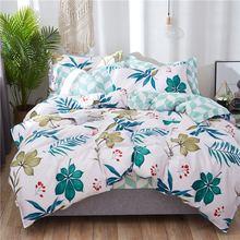 100% Cotton leaf print floral bedding set bed linen duvet cover kid adult brief style princess hometextile bedclothes bedspread(China)