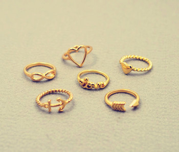New fashion jewelry heart anchor infinity love finger ring set gift for women ladies' R1161