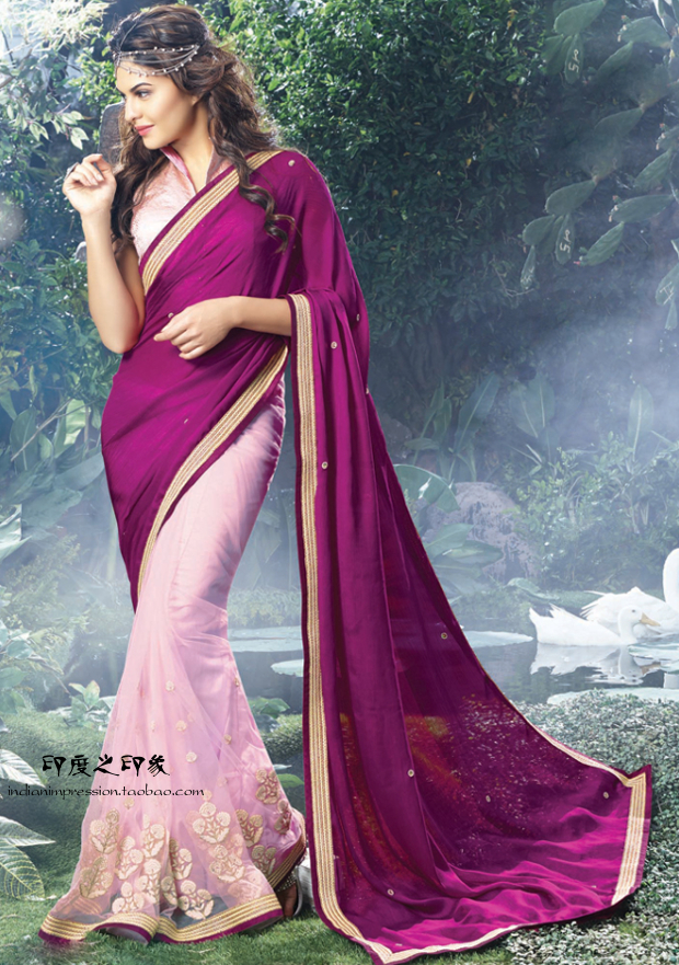 2015 New fashion party wear magenta indian saree with blouse(China (Mainland))