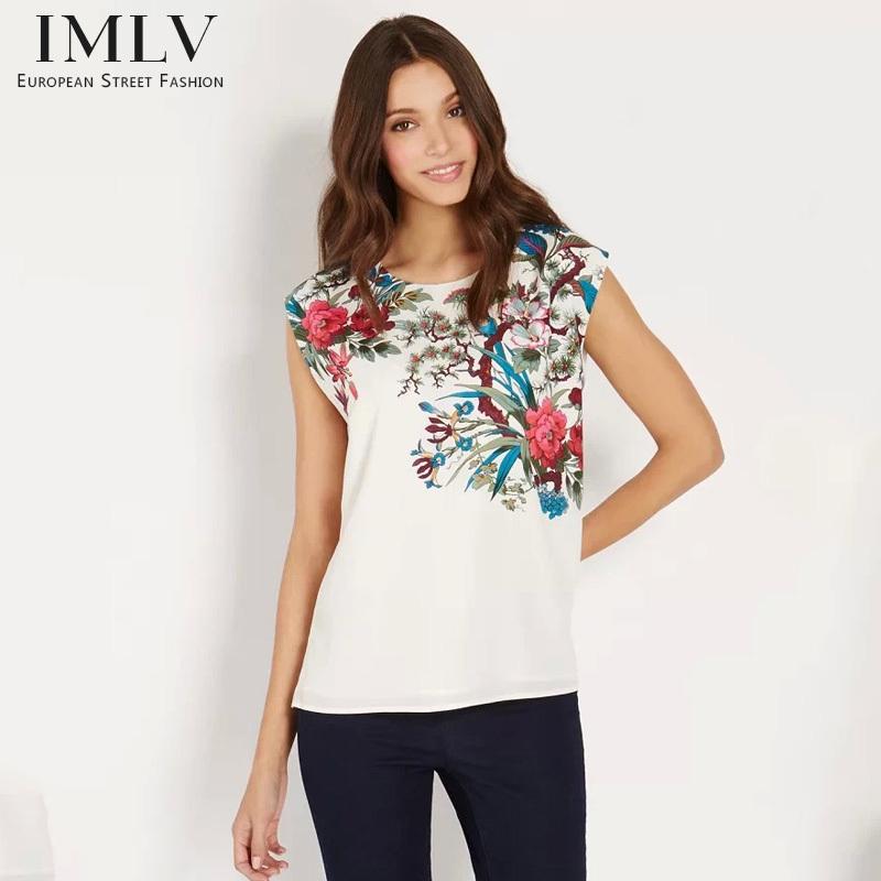 Women's Floral Print T-shirt, White Chiffon Sleeveless - Zhejiang Ista Trading Co.,LTD store