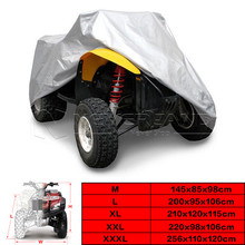 Silver Universal 190T Motorcycle Waterproof Cover Quad Bikes ATV For Polaris Honda Yamaha Suzuki Size M L XL 2XL 3XL D15