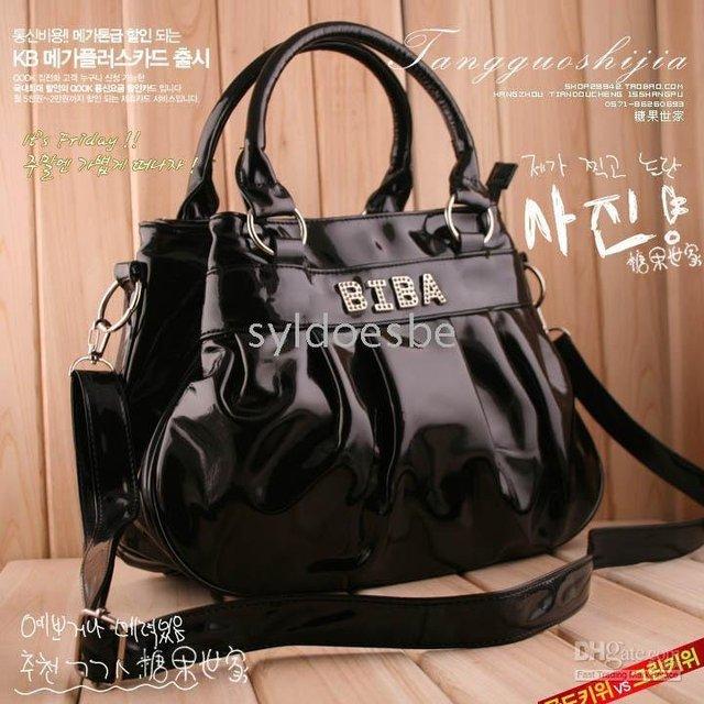 Leather Ladies' Women's Shoulder Aslant Bag Handbag Tote In Syldoesbe RuffleBlack Stylish Patent
