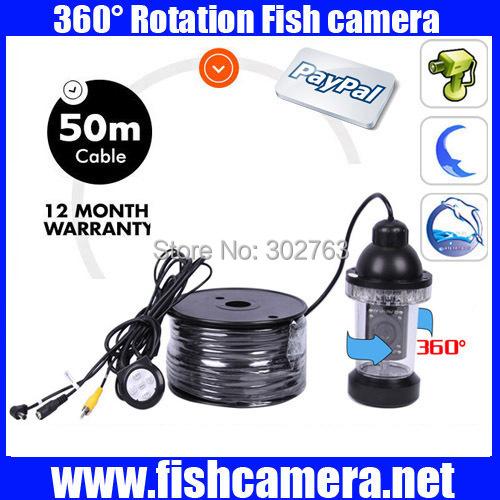 50m 360 rotation Underwater Fishing Video Camera,undervands videokamera, vandtat CCTV kamera, fisk kamera Freeship(China (Mainland))