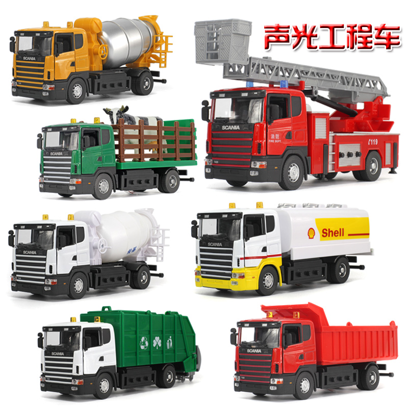 Acousto-optic pull back Diecast engineering garbage car tank car fire truck alloy toy sound and light warrior car model 1:43(China (Mainland))