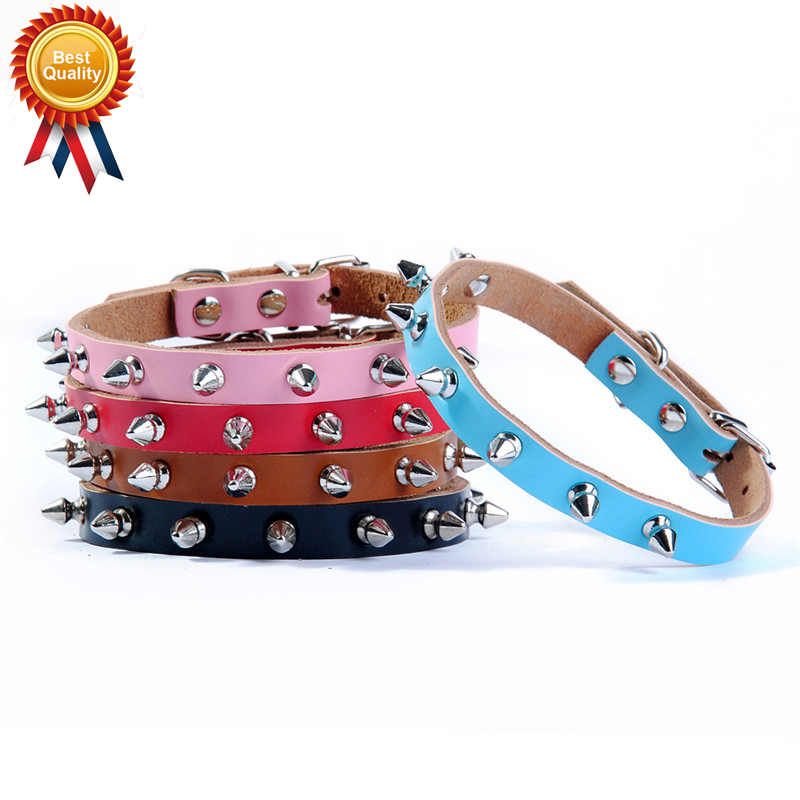 Classical Pet Geniune Leather Spiked Dog Collar Punk Studded Small Large Dog Cat Collar Bichon Chihuahua Pet Shop Supplies HP795(China (Mainland))