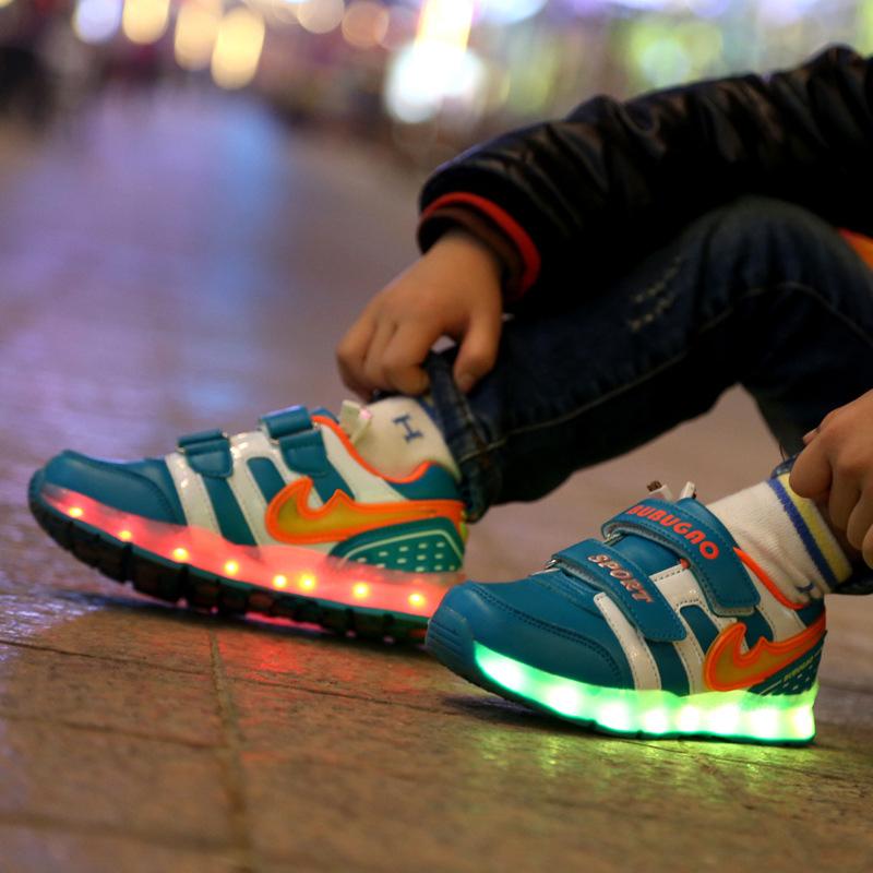 Фотография Free Shipping 2016 Led Light Luminous USB Charging 7 Color Baby Boys Girls Shoes Kids Shoes Children Shoes LED Loss AG21