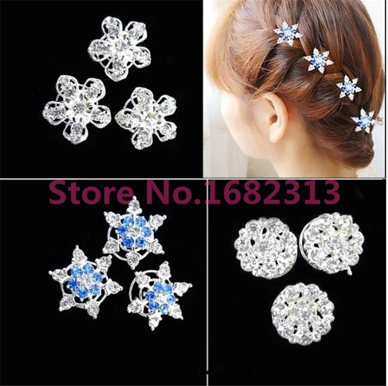 2015 Hot Girls Bride Princess Snowflake Rhinestone Hair Clips Accessories Girl kids Hair Accessories Free shipping(China (Mainland))