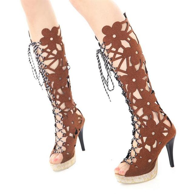 Free shipping high heels platform pumps boots for women big size shoes woman flowers 2013 spring new lace up Sandals SXX05338