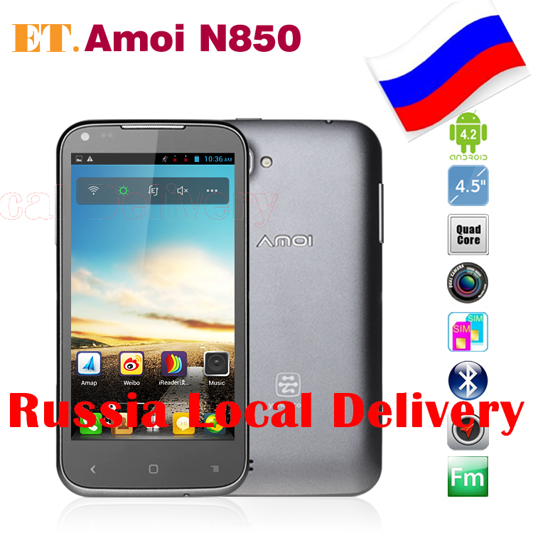 RU Local Shipping Amoi N850 4.5inch Android 4.2 MTK6589 Quad Core Smartphone Bluetooth GPS Dual Camera 5.0MP