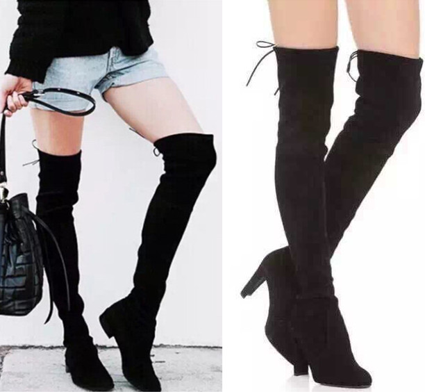 Sale!!!2016 botas femininas autumn winter boots heel thigh high boots elastic slim long boots lowland women boots mujer zapatos