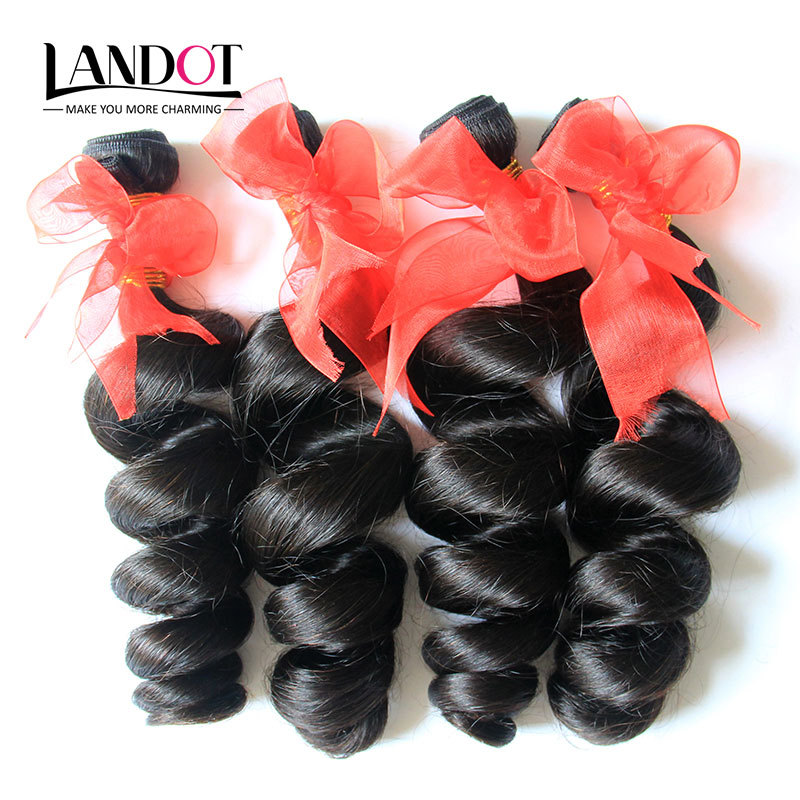 Unprocessed 6A Brazilian Loose Wave Virgin Hair Extensions 4Pcs Brazilian Loose Curl Human Hair Weaves Natural Black Tangle Free