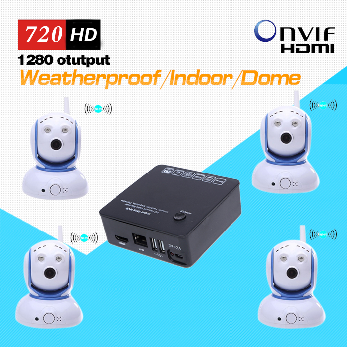 4ch Mini Pan Tilt IP Camera Wireless Kit with one 4ch mini NVR including Power Adaptor and Brackets(China (Mainland))