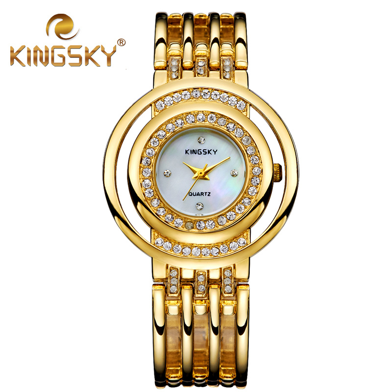 K8001 KINGSKY Watch Lady Watch Rose Gold Diamond Case White Dial Alloy Band Analog Gold Band Japan Quartz for Fashion occations<br><br>Aliexpress