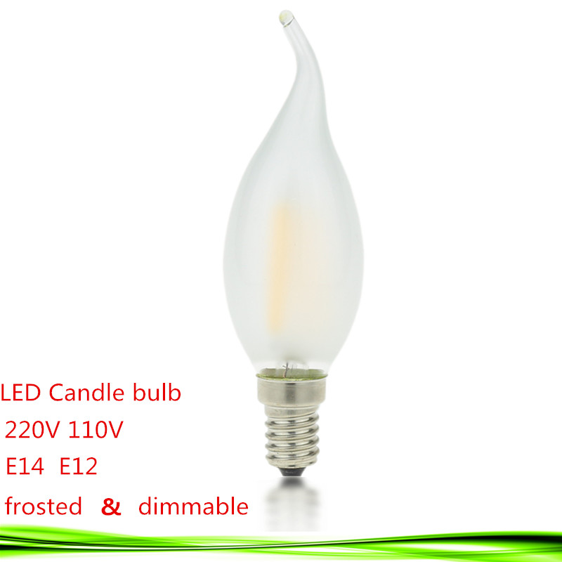 LED E14 E12 bulb 110V 220V 2W 4W 6W led candle lamp dimmable led bulb filament frosted crystal chandelier Light warm/cold white(China (Mainland))