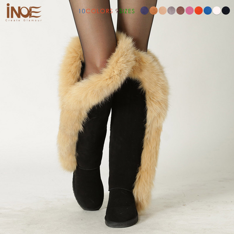 High Quality Big nature fox fur thigh tall fashion snow boots for women genuine leather winter shoes high black motorcycle boots(China (Mainland))