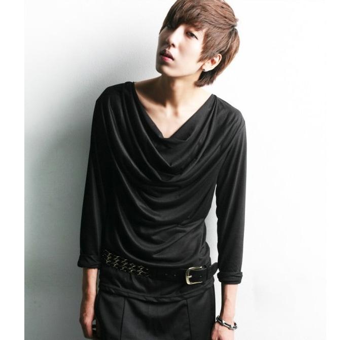 men 39 s fashion ruched draped v neck long sleeve designer t