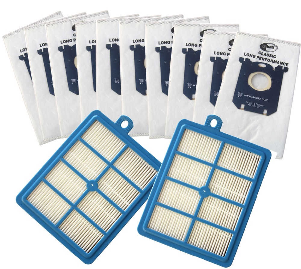 12pcs/set Free Shipping 2 Replacement hepa filter 10pcs Dust Bags for Electrolux Vacuum Cleaner filter electrolux hepa and S-BAG(China (Mainland))