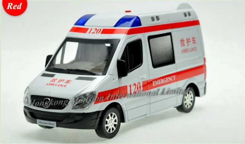 1:32 Scale Diecast Alloy Ambulance Car Model For TheBenz Sprinter Collection RV Model Pull Back Toys Car With Sound&Light - Red(China (Mainland))