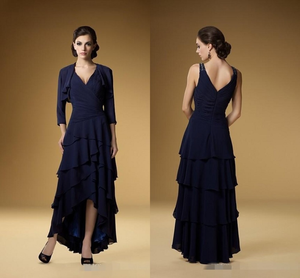 Elegant chiffon floor length brides mother of the bride for Suit dresses for weddings