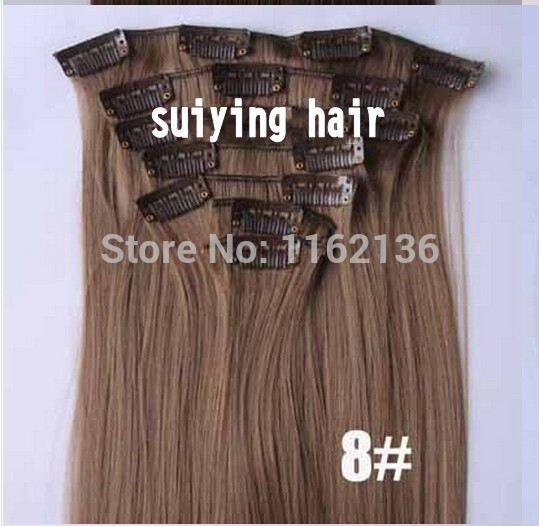 2014Color 613# Pre-bleached blonde 24inch clip in synthetic hair extension straight heat resistance fibre 7pcs/set 60cm 120g<br><br>Aliexpress