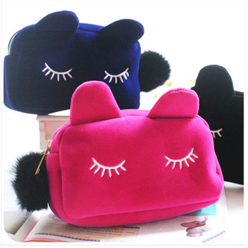 Portable Cartoon Cat Coin Storage Case Travel Makeup Flannel Pouch Cosmetic Bag(China (Mainland))